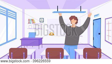 Back To School Interior Of Room For Teacher. School Worker, Happy Teacher In Empty Classroom At Scho