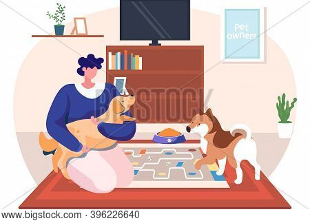 A Woman Hug Her Dog With Warmth And Love, The Concept Of The Relationship Between Humans And Their P
