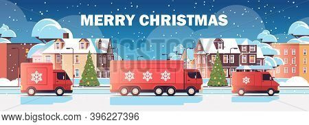 Red Lorry Trucks Delivering Gifts Merry Christmas Happy New Year Winter Holidays Celebration Express