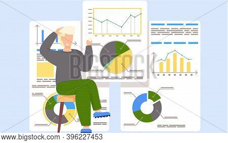 Smiling Guy Sits With Cards In His Hands. Work With Statistics And Business Anatytics. Man Thinks Ov