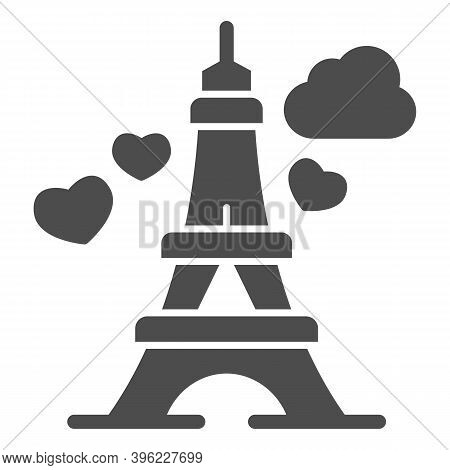 Eiffel Tower With Heart Solid Icon, Valentine Day Concept, Romance Travel Sign On White Background,