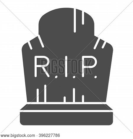 Grave With Inscription Rip Solid Icon, Halloween Concept, Grave With Scratches Sign On White Backgro