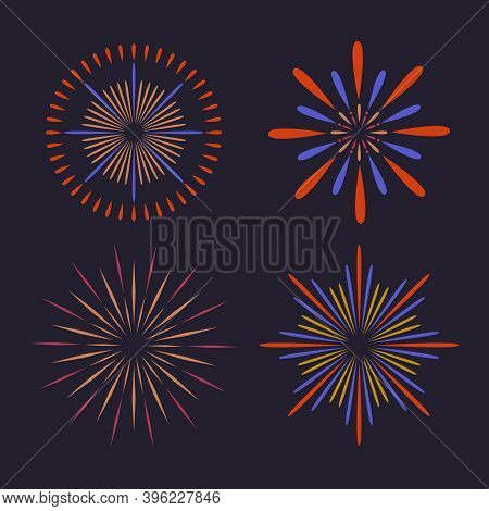 Vector Abstract Colorful Fireworks On Dark Background. Firework Show For New Year, Xmas, Birthday, C