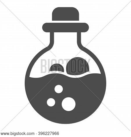 Potion Scale With Bubbles Solid Icon, Halloween Concept, Mana In Bottle With Stopper Sign On White B