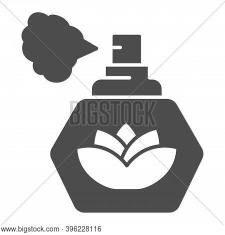 Perfume With Lotus Flower Solid Icon, Hygiene Routine Concept, Spray Fragrance Sign On White Backgro