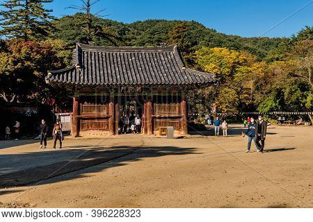 Gongju, South Korea; October 18, 2020: Unidentified People Passing Through And Around Liberation Gat