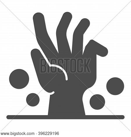 Dead Man Hand Under Ground Solid Icon, Halloween Concept, Zombie Hand Breaking Out From Under Ground