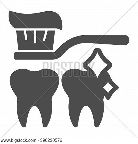 Toothbrush With Paste And Clean Teeth Solid Icon, Makeup Routine Concept, Tooth Care Sign On White B