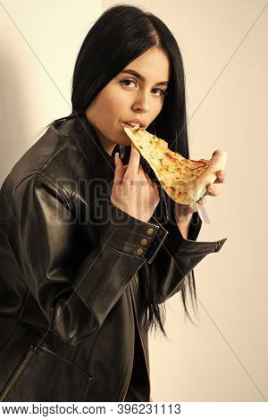 Best Food Is Eaten With Your Hands. Sensual Woman Bite Pizza Slice. Pretty Girl Eat Baked Food. Read