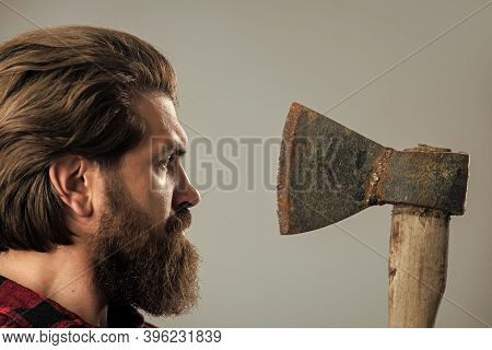 Perfect Male. Lumberjack Brutal Bearded Man In Red Checkered Shirt. Concept Of Shaving. Halloween. M