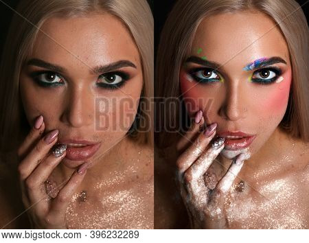 Before And After Retouching In Photoshop. Side By Side Beauty Portraits Of Woman With Makeup And Man