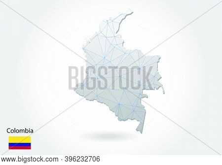 Vector Map Of Colombia With Trendy Triangles Design In Polygonal Style On Dark Background, Map Shape