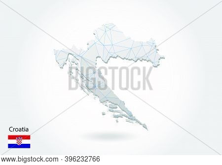 Vector Map Of Croatia With Trendy Triangles Design In Polygonal Style On Dark Background, Map Shape