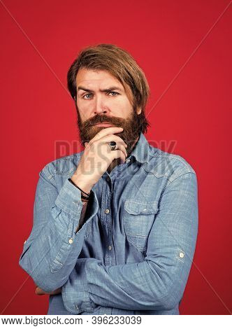 Young And Brutal. Brutal Hipster With Moustache. Fashion Model Wear Casual Clothes. Male Beauty Stan