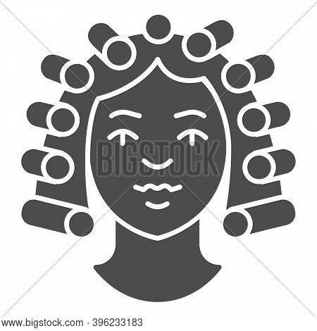 Hair Rollers On Girl Head Solid Icon, Makeup Routine Concept, Hairdresser Salon Sign On White Backgr
