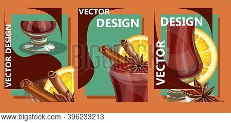 Vector Image Consisting Of Three Interconnected Images In One Piece In The Form Of A Mug With Mulled