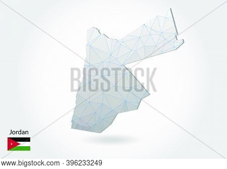 Vector Map Of Jordan With Trendy Triangles Design In Polygonal Style On Dark Background, Map Shape I
