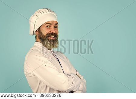 Delicious Dessert. Cook Chef In White Uniform. Bearded Mature Man Chef. Bearded Man Restaurant Worke