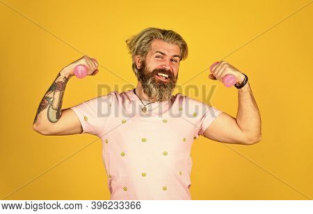 Workout With Barbell. Male At Fitness Gym. Practicing Weight Lifting. Power And Strength. Hipster Sh