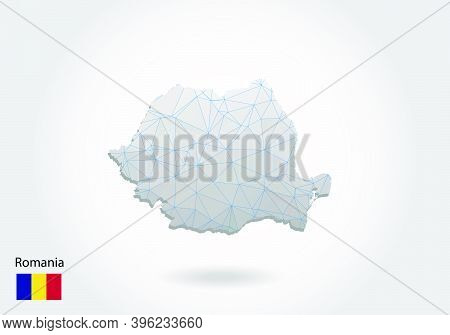 Vector Polygonal Romania Map. Low Poly Design. Map Made Of Triangles On White Background. Geometric