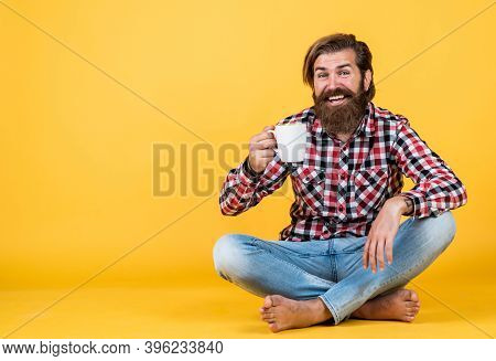 Happy Bearded Man Drinking Morning Coffee. Man Drink Hot Tea From Cup. Good Morning To You. Energeti