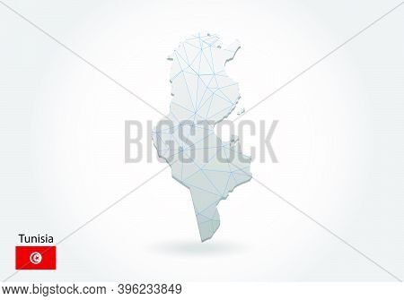 Vector Polygonal Tunisia Map. Low Poly Design. Map Made Of Triangles On White Background. Geometric