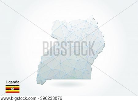 Vector Polygonal Uganda Map. Low Poly Design. Map Made Of Triangles On White Background. Geometric R