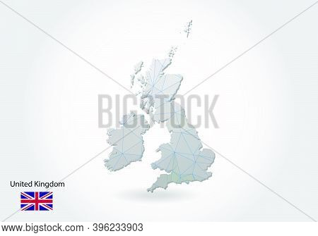 Vector Polygonal United Kingdom Map. Low Poly Design. Map Made Of Triangles On White Background. Geo