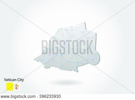 Vector Polygonal Vatican City Map. Low Poly Design. Map Made Of Triangles On White Background. Geome