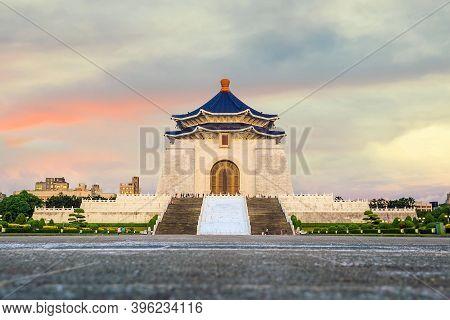 Chiang Kai-shek Memorial In Taipei, Taiwan Chinese Characters On The Walls Represent Chiang Kai-shek