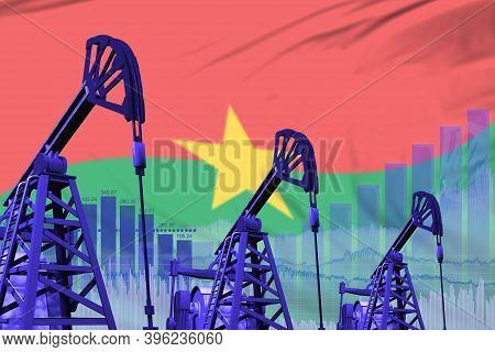 Burkina Faso Oil And Petrol Industry Concept, Industrial Illustration On Burkina Faso Flag Backgroun