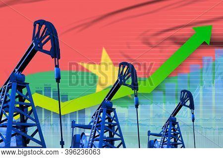 Burkina Faso Oil Industry Concept, Industrial Illustration - Growing Graph On Burkina Faso Flag Back