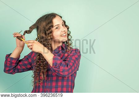 Easy Tips Making Hairstyle For Kids. Hairdressing Tools And Hair Accessories. Kid Pose With Hair Cur
