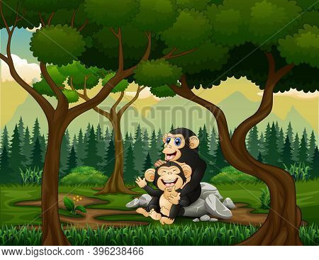 Chimpanzee Mother With Her Baby In The Forest
