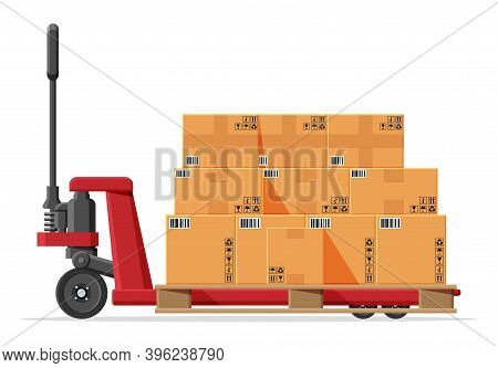 Hand Pallet Truck With Cardboard Box Isolated On White. Pallet Jack Full Of Carton Boxes. Delivery P