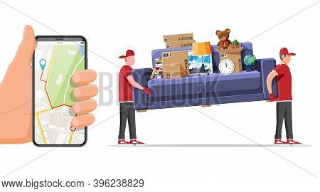 Delivery Character Man Movers Carry Sofa And Smartphone With Map App. Porters Carry Couch Isolated.