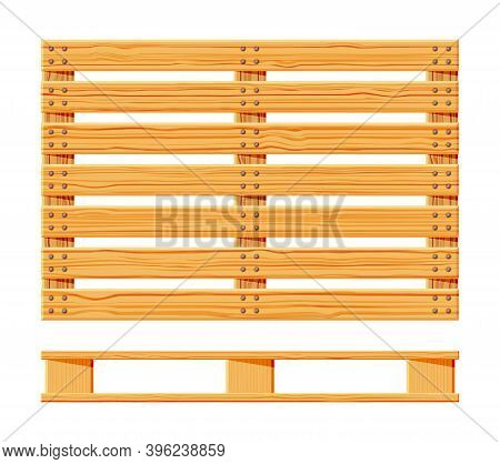 Wooden Pallet Icons. Cartoon Wood Pallet Isolated On White. Top View, Front And Side View. Flat Vect