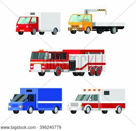 Urban, City Cars Vector Icons Set. Ambulance, Fire Truck, Mail Truck, Tow Truck, Crane, Truck, Lorry