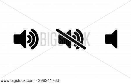 Sound Volume Icons. Sound Volume Up, Down Or Mute Control Buttons Set. Vector Illustration. Eps10