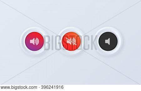 Sound Volume Button Icon Set. Button, Sign, Badge In 3d Style. Sound Volume Up, Down Or Mute Control