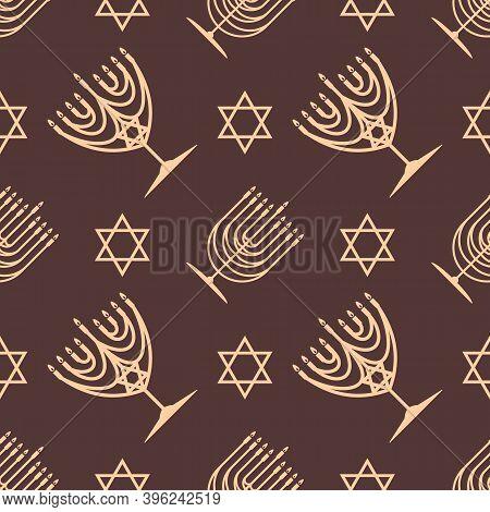 Hanukkah Seamless Pattern. Hanukkah Menorah And Star Of David. Vector Illustration