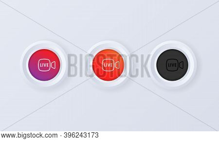 Live Stream Button In 3d Style. Live Button, Icon In Social Media Concept. Layout Web Button Live St