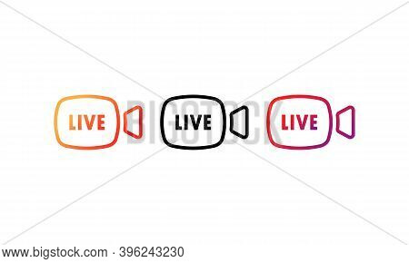 Live Stream Button Icon Set. Live Button In Social Media Concept. Layout Web Button Live Streaming.