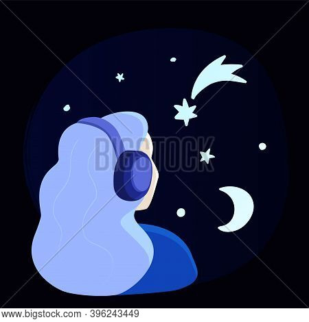 Girl Listening To Music In Headphones, With Mind Full Of Stars. Cosmic Meditative Lo-fi Music Concep