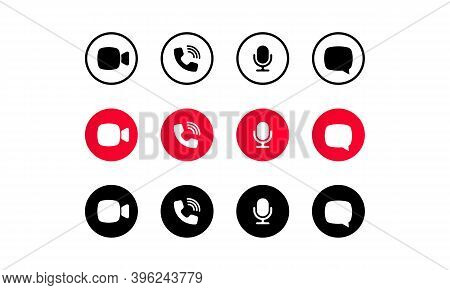 Video Call Screen Template. Video Cal Icons Set. Buttons For Social Media App. Communication Via Int