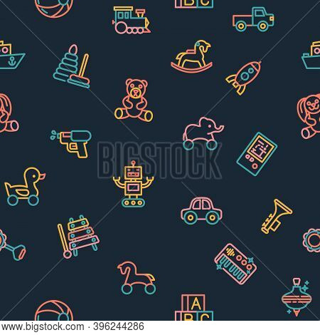Kids Toys Icons Pattern. Childrens Toys Seamless Background. Seamless Pattern Vector Illustration
