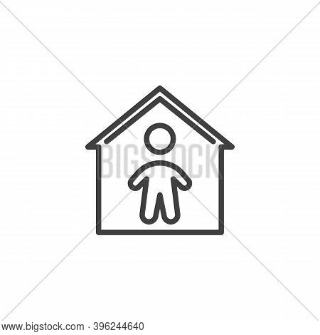 Stay Home Line Icon. Linear Style Sign For Mobile Concept And Web Design. Man Stay At Home Outline V
