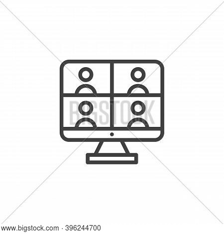 Online Video Conference Line Icon. Linear Style Sign For Mobile Concept And Web Design. Online Meeti