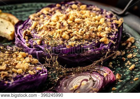Vegan Roasted Red Cabbage Steaks, Food Recipe Background. Close Up Roasted Balsamic Thyme Red Cabbag