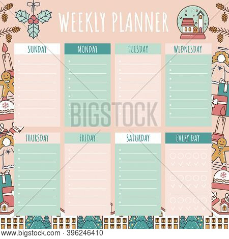 Weekly Planner, Organizer In Christmas Style. Calendar For Week With Schedule For Time Planning With
